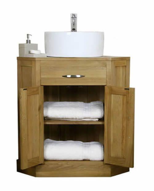 Solid Light Oak Corner Bathroom Vanity Sinks Unit Cabinet Basin Vanit