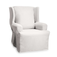 Wingback chair slipcover white