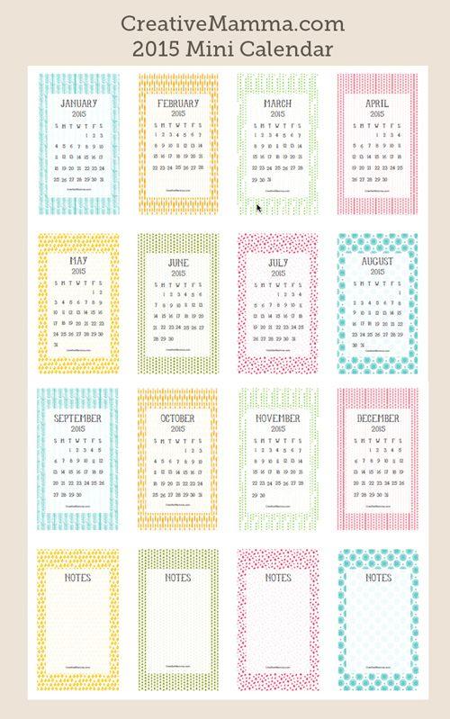 FREE printable 2015 mini calendar ^^