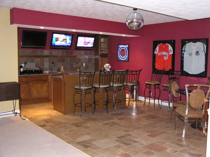 basement sports bar with hardwired disco ball