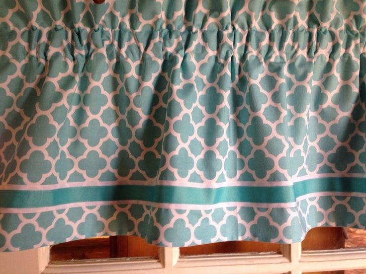 Turquoise Aqua Moroccan Quatrefoil Curtain Valance Custom Lined