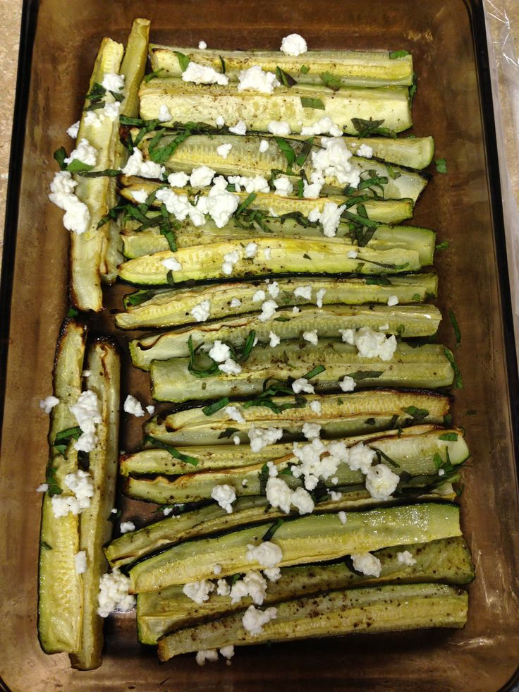 Zucchini spears... roasted in oven with a spray of coconut oil, salt ...