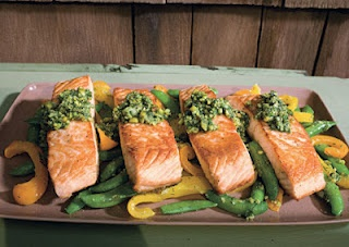Salmon with snap peas, yellow peppers, and dill-pistachio pistou ~ is ...
