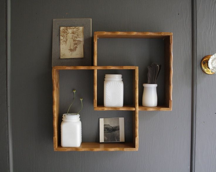 Square shelves cosas de casa pinterest Cool wood shelf ideas
