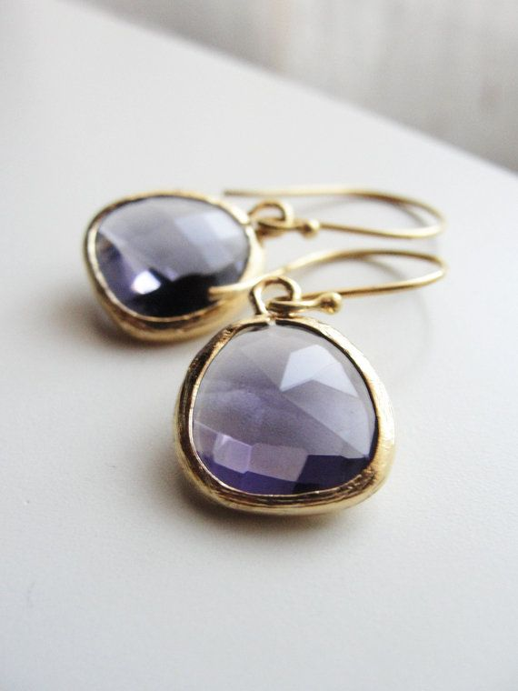 Purple and gold earrings  simple chic jewelry  by OliveYewJewels, $25.00