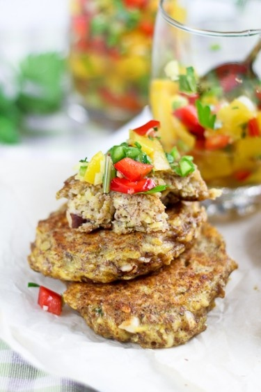 Plantain Fritters with a Spicy Sweet & Sour Peach and Bell Pepper Chu ...