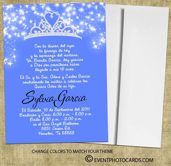 Tiara crown quinceanera invitation a23 princess quinceanera invitat