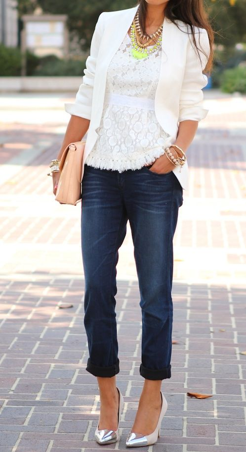 White lace top,white blazer,pumps and blue jeans