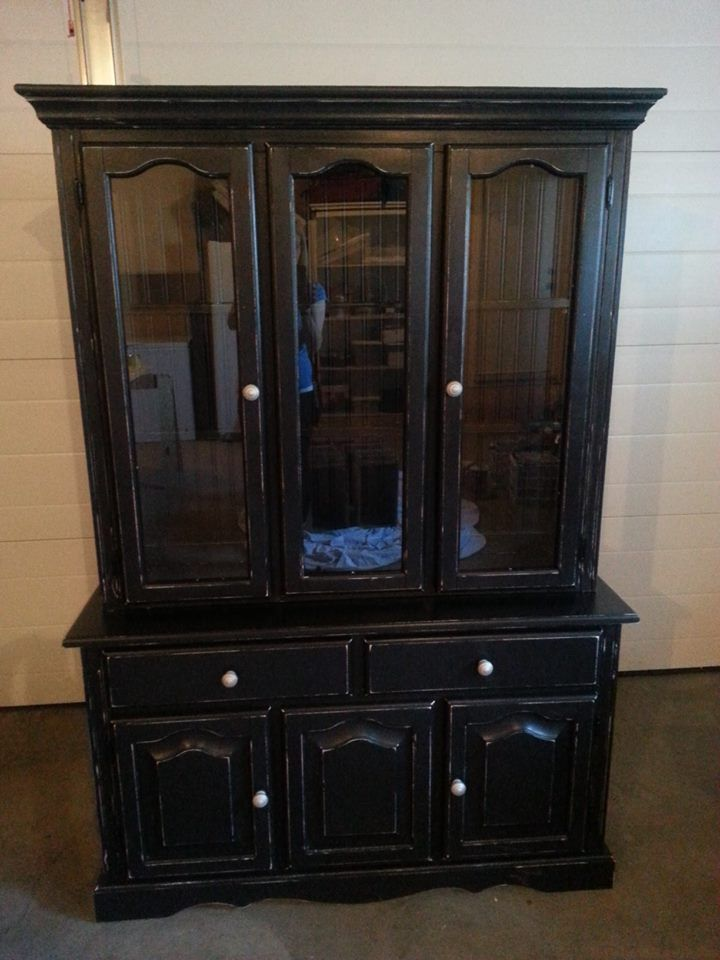 custom painted china cabinet in black distressed and sealed with wax