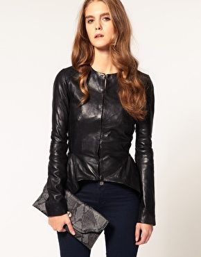 ASOS Leather Peplum Blazer