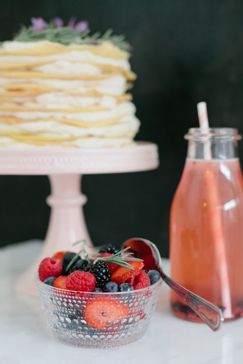 Lavender-Honey Crepe Cake with fresh berries