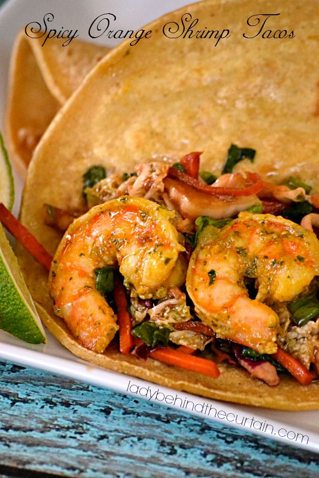 These Spicy Orange Shrimp Tacos are perfect! Light on the calories but ...