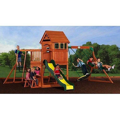 Backyard Gym Sets : Backyard Cedar Wooden play set playground jungle gym slide swing