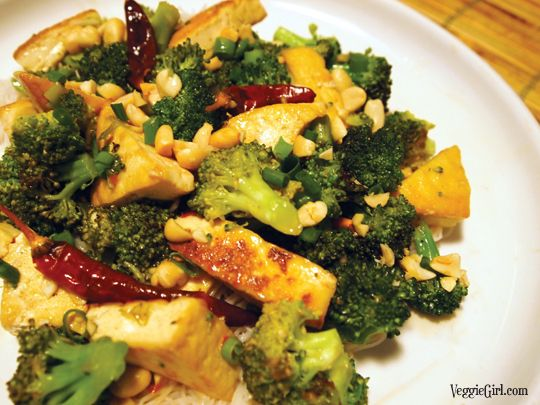 tofu stir fry with brown rice broiled tofu with snow peas broccoli and ...