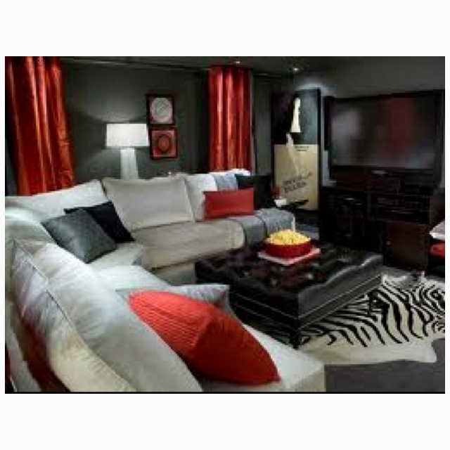 Red black and gray living room living room pinterest for Black red and grey living room ideas