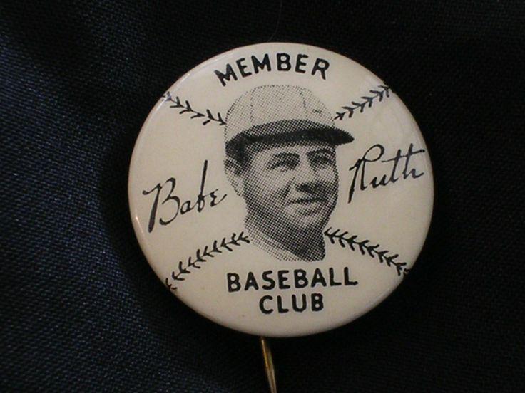 Babe ruth baseball club pin pinback button new york yankees 1934 quak ... Babe Ruth Yankees
