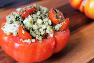 Grilled Tomato Orzo Salad in a Tomato Cup