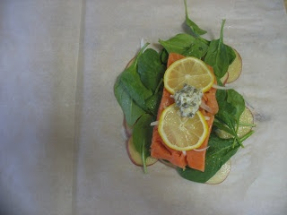 Salmon, Spinach and Potatoes in Parchment from Martha Stewart.