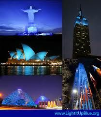 Famous landmarks that Light It Up Blue for Autism Speaks on April 2, World Autism Awareness Day