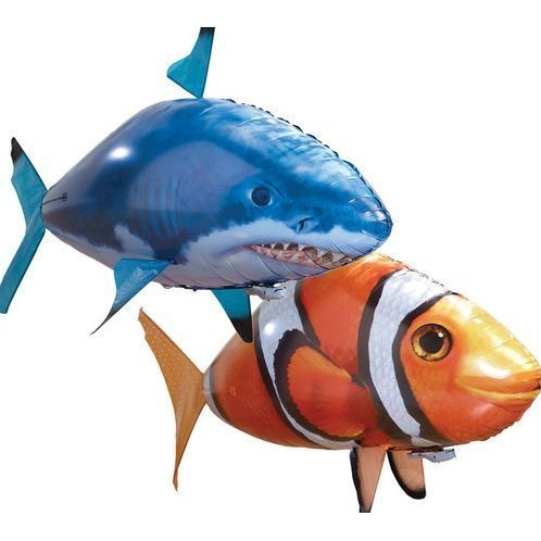 Rc air swimmers inflatable flying clown fish and shark toy for Air swimming fish