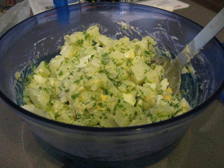 Potato Salad with mint!--add green beans, chives