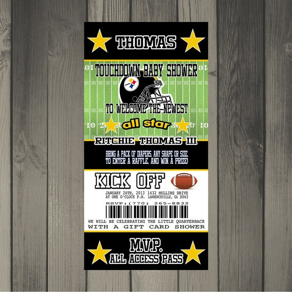 steelers inspired football baby shower invitation ticket invitation