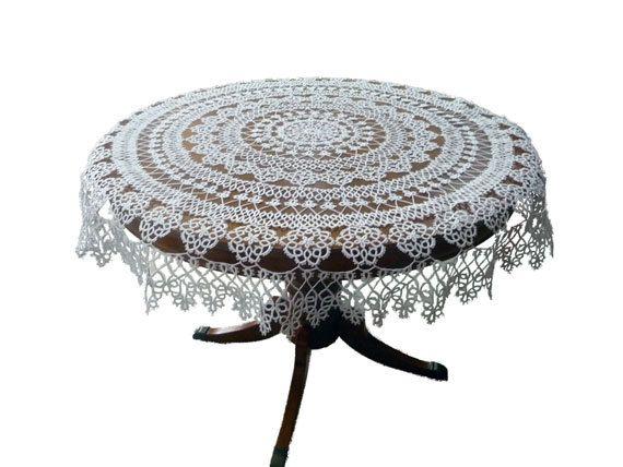 Handmade tatting tablecloth  White Roses by ShopGift on Etsy, $380.00