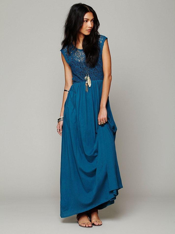 Crochet Maxi Dress : Free People Isobel Crochet Maxi Dress, Crochet maxi dress with short ...