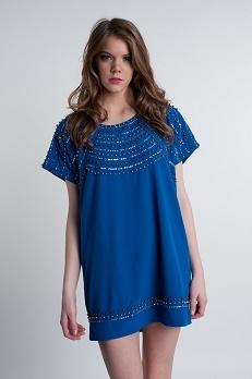 Royal blue studded short sleeve tunic dress electric frenchie