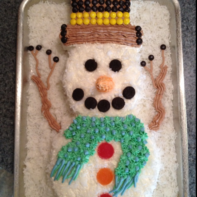 Coconut cream snowman cake. | Craft Ideas | Pinterest