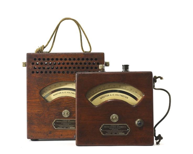 Antique Volt Meter : Antique weston voltmeter wood case steampunk industrial