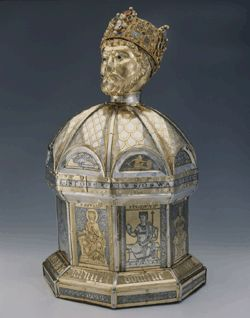 Cathedral Museum in Hildesheim,reliquary in the form of the head of St.Oswald,. ca  1185-1189,silver,gilt,niello,feligree,enamel,stone and pearl trimming,oak core.