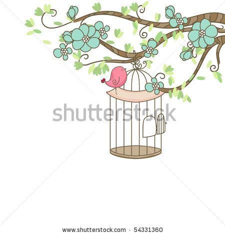 stock vector : bird and birdcage