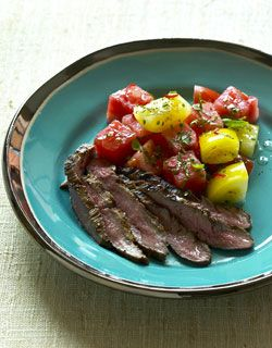 Grilled Flank Steak with Tomato and Watermelon Salad