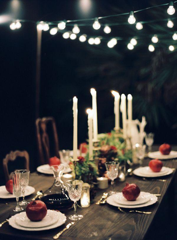 nighttime reception // photo by Melanie Gabrielle // http://ruffledblog.com/woodsy-winter-dinner-party