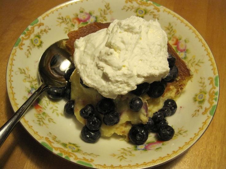 Meyer Lemon Buttermilk Pudding Cake with Fresh Berries