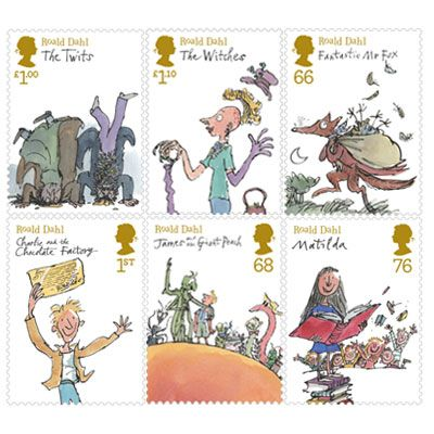 Quentin Blake famous illustrations for Roald Dahl's novels into gorgeous stamps... great idea!