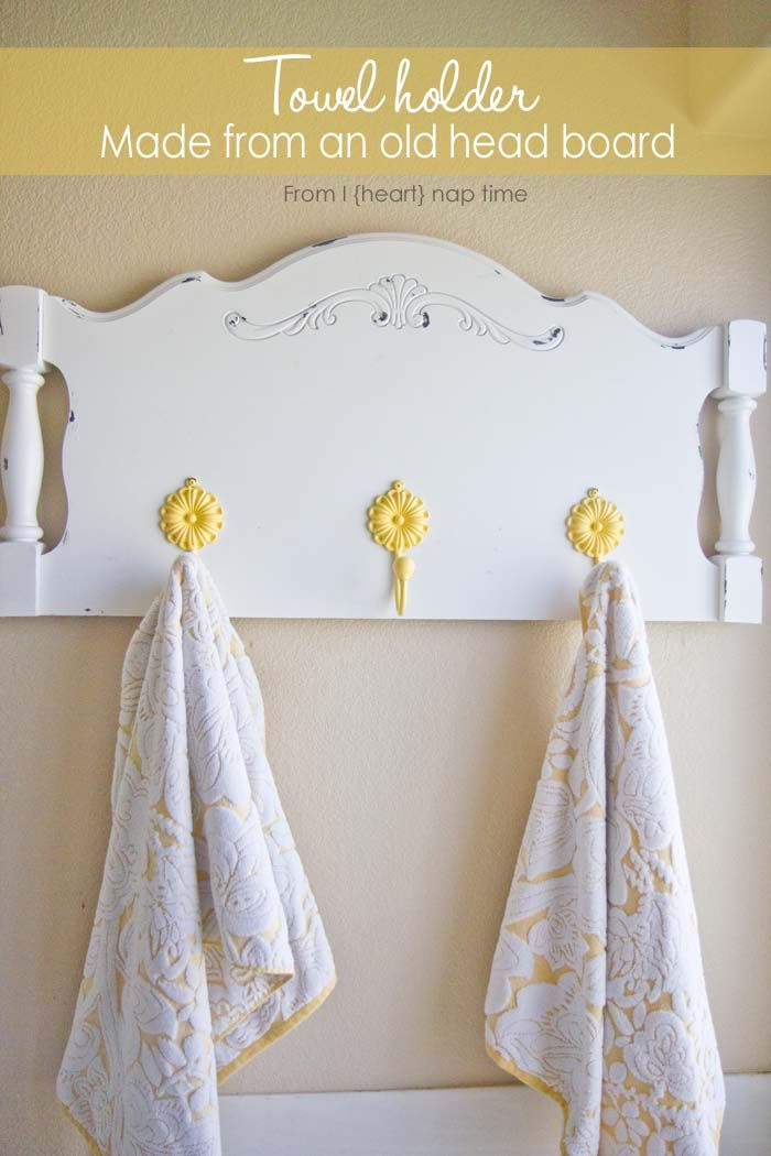 Turn an old headboard into a towel holder or coat hanger. Such a fun and easy DIY project!
