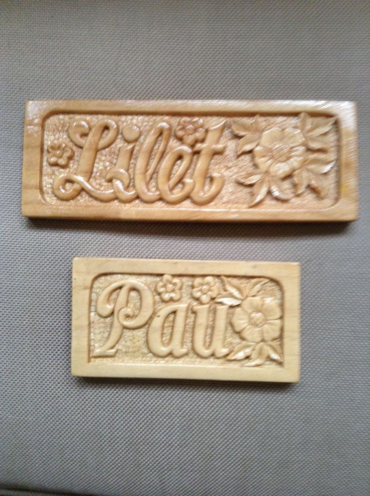 Carved Wood Name Plates