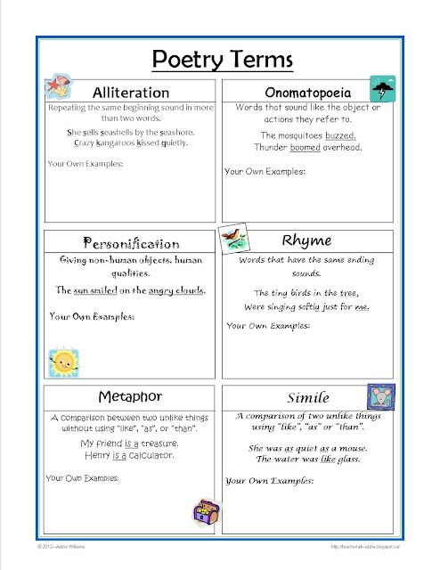 - Poetry Terms worksheet - great for practice and review. | Language ...