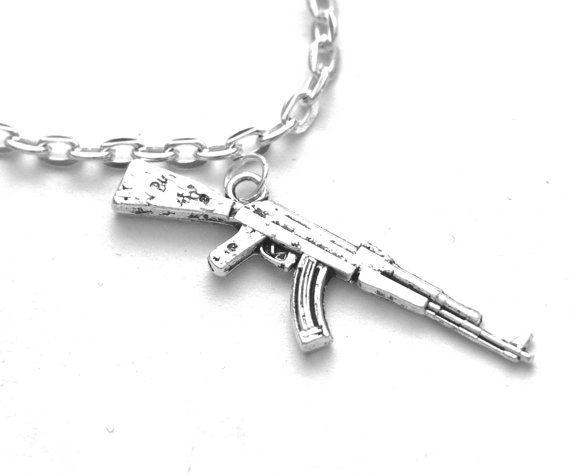 ak 47 gun necklace 18 quot silver tone gun charm necklace