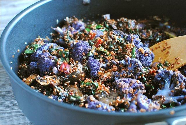 Red Quinoa with Swiss Chard, Mushrooms, and Purple Cauliflower