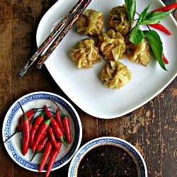 Red curry shrimp dumplings with soy-sriracha dipping sauce. Perfect ...