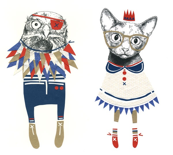 The owl and the kittycat...this time slightly different! Love Catherine Campbells work!