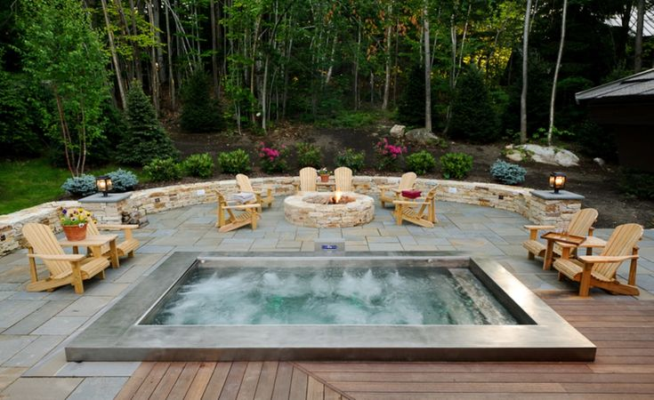 hot tub and outdoor living spaceI could totally see this in my