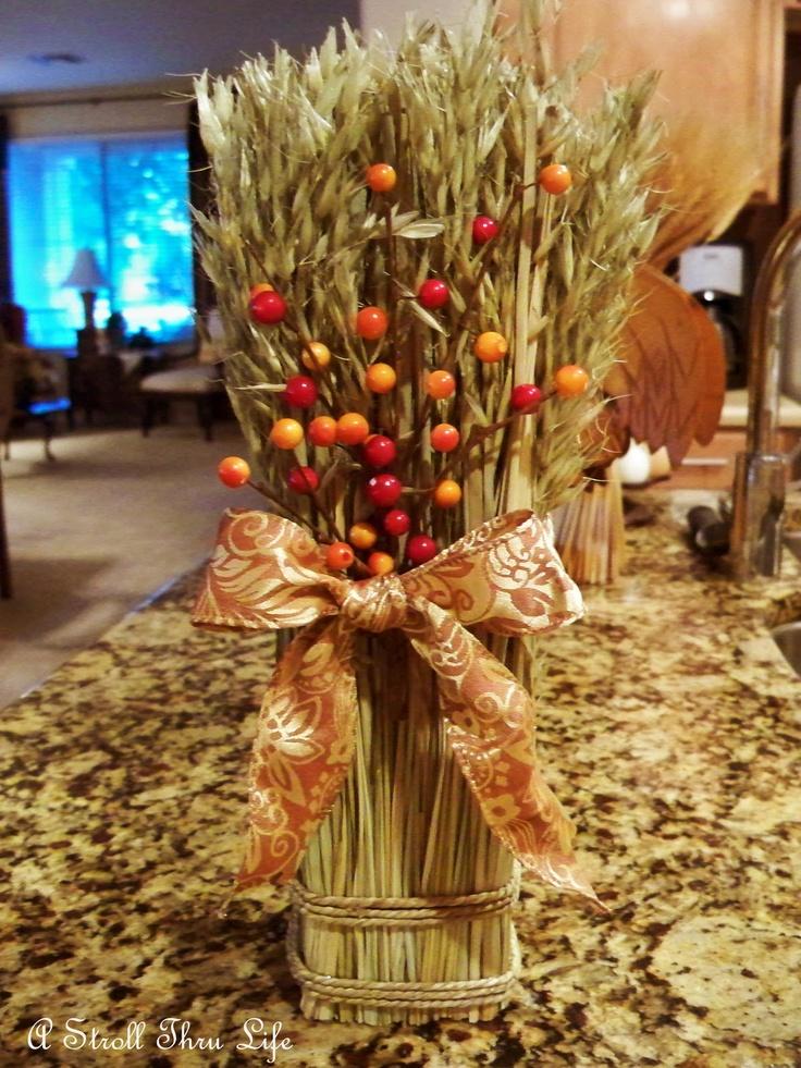 Wheat centerpiece tablescapes pinterest for Wheat centerpieces