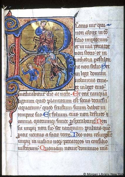 Psalter-hours (MS M.94). Cologne, Germany, between 1250 and 1274.  MS M.94  fol. 7r; Psalms 001