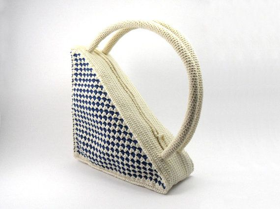 Crochet Small Purse Pattern : Small Crochet Bag Triangle Purse Retro Style Bag Beige by Aimarro, $85 ...