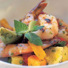 Tropical Fruit, Avocado, and Grilled Shrimp Salad