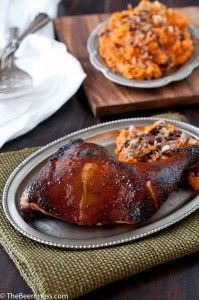 Glazed Roast Chicken with Maple Sweet Potatoes topped with Caramelized ...